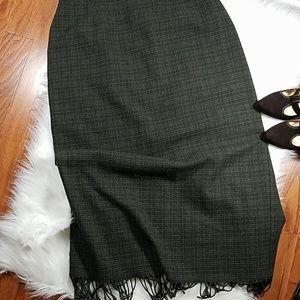 Vintage Wool hunter green Tweed blanket skirt